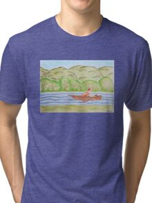 Young girl in the boat Tri-blend T-Shirt