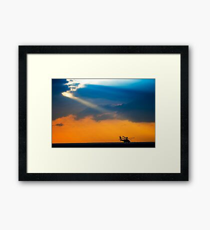 Apache AH-644 Longbow (Seraph) Helicopter at sunset Framed Print