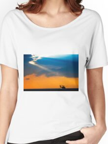 Apache AH-644 Longbow (Seraph) Helicopter at sunset Women's Relaxed Fit T-Shirt