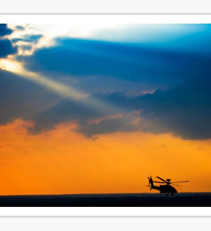 Apache AH-644 Longbow (Seraph) Helicopter at sunset Sticker