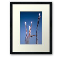 Israeli Air force F-15I Fighter in flight Emitting anti-missile flares Framed Print