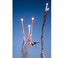 Israeli Air force F-15I Fighter in flight Emitting anti-missile flares Photographic Print