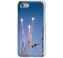 Israeli Air force F-15I Fighter in flight Emitting anti-missile flares iPhone Case/Skin