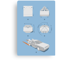 Origami DeLorean Canvas Print