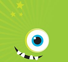 IPhone :: one-eyed monster face grin - green by Kat Massard