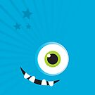 IPhone :: one-eyed monster face grin - aqua by Kat Massard