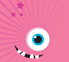 IPhone :: one-eyed monster face grin - pink by Kat Massard