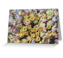 Purple and Yellow Floral Machine Dreams Greeting Card