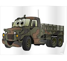 Military Stake Truck Cartoon Poster