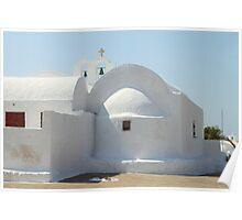 White Sculptural Church, Oia, Santorini Poster
