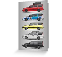 Stack of Volvo 850R 855R T5 Turbo Station Wagons Greeting Card