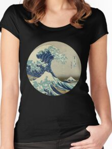 Great Wave off Kanagawa circle Women's Fitted Scoop T-Shirt