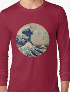 Great Wave off Kanagawa circle Long Sleeve T-Shirt