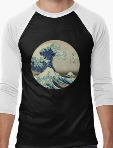 Great Wave off Kanagawa circle Men's Baseball ¾ T-Shirt
