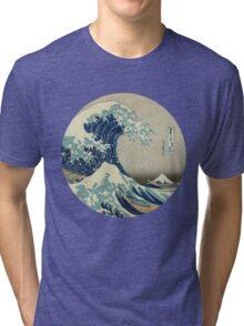 Great Wave off Kanagawa circle Tri-blend T-Shirt