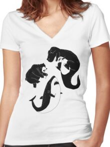 Epic Knife Fight Women's Fitted V-Neck T-Shirt