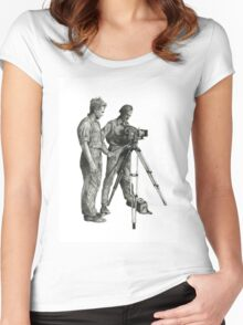 Travel and adventure with a camera. Women's Fitted Scoop T-Shirt