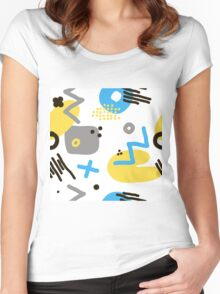Modern hand draw colorful abstract seamless pattern  Women's Fitted Scoop T-Shirt
