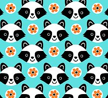 Raccoons and Flowers by zoel