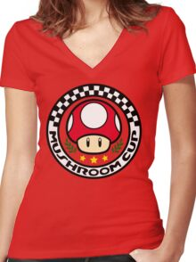 Mushroom Cup Women's Fitted V-Neck T-Shirt