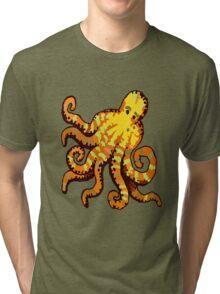Orange Octopus Tri-blend T-Shirt