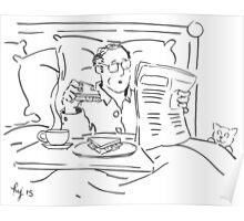 Breakfast in bed cartoon Poster