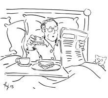 Breakfast in bed cartoon Photographic Print