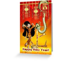 Chinese New Year Child Snake And Envelopes Greeting Card