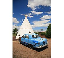 Route 66 Wigwam Motel and Classic Car Photographic Print