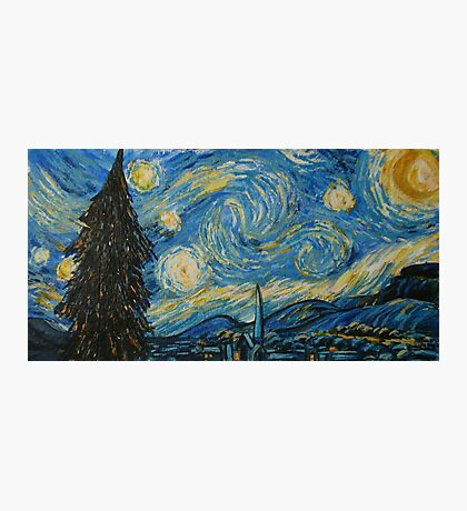 After Van Gogh Starry Night - Christmas card Photographic Print