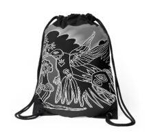 hummingbird crow Drawstring Bag