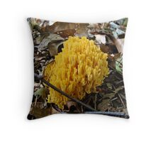 Cheddar-Colored Coral Mushroom Throw Pillow