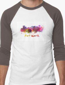 Fort Worth skyline in watercolor Men's Baseball ¾ T-Shirt