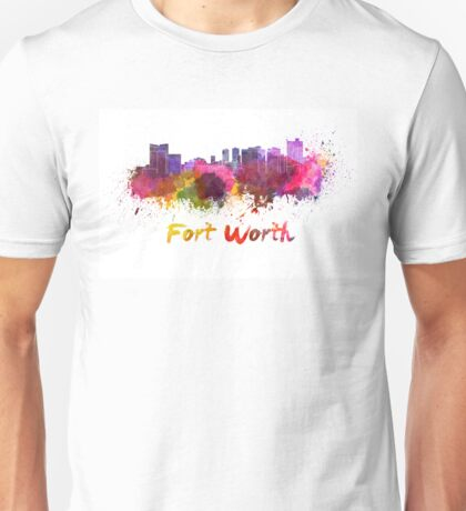 Fort Worth skyline in watercolor Unisex T-Shirt