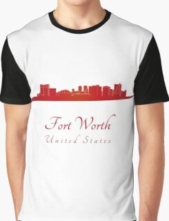 Fort Worth skyline in red Graphic T-Shirt