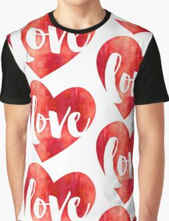 WATERCOLOUR LOVE HEART modern brush script typography Graphic T-Shirt