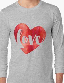 WATERCOLOUR LOVE HEART modern brush script typography Long Sleeve T-Shirt