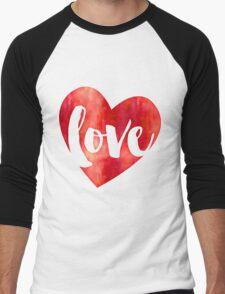 WATERCOLOUR LOVE HEART modern brush script typography Men's Baseball ¾ T-Shirt