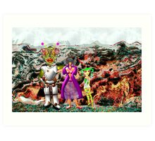 A Mixed Interstellar Family on the Planet of Ykulian Faces Global Warming Art Print
