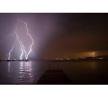 Lightning over Lake Garda Photographic Print