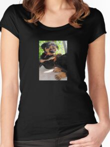 Grumpy Faced Rottweiler Puppy Lashes Out Women's Fitted Scoop T-Shirt