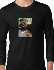 Grumpy Faced Rottweiler Puppy Lashes Out Long Sleeve T-Shirt