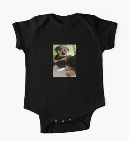 Grumpy Faced Rottweiler Puppy Lashes Out One Piece - Short Sleeve