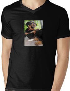 Grumpy Faced Rottweiler Puppy Lashes Out Mens V-Neck T-Shirt