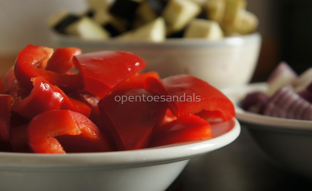 Red pepper and other bowls of food by opentoesandals