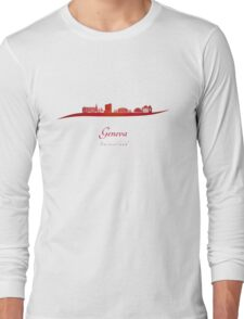 Geneva skyline in red Long Sleeve T-Shirt