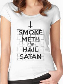 Smoke Meth and Hail Satan  Women's Fitted Scoop T-Shirt