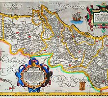 Ortelius Map of Portugal(Porvgalliae)Geographicus Portugalliae ortelius 1587 by Adam Asar