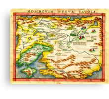 1574 Ruscelli Map of Russia (Muscovy) and Ukraine Geographicus Moschovia porcacchi 1572 Canvas Print