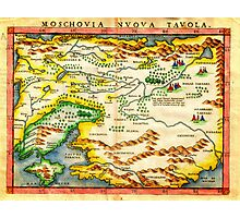 1574 Ruscelli Map of Russia (Muscovy) and Ukraine Geographicus Moschovia porcacchi 1572 Photographic Print
